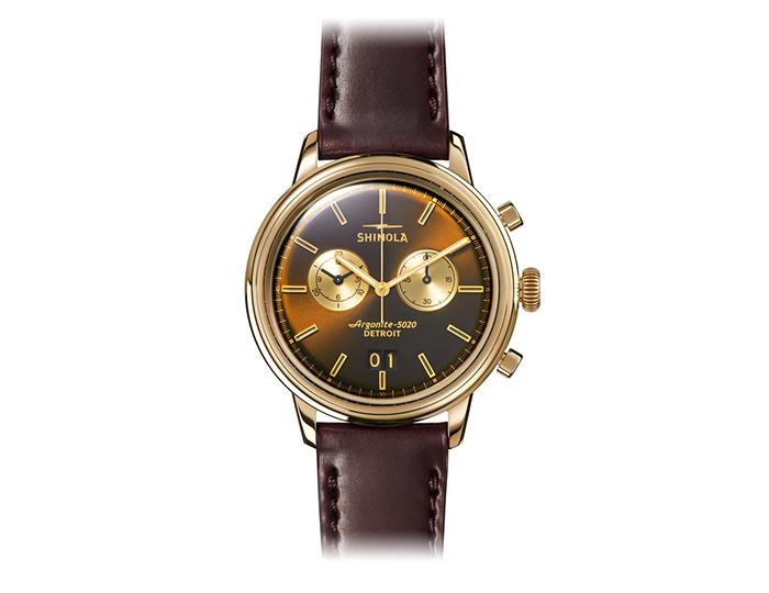 Shinola Bedrock Chronograph 42mm PVD gold finish leather strap watch.