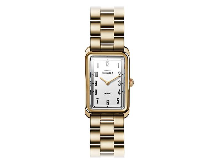 Shinola Muldowney 24x32mm PVD gold finish bracelet watch.
