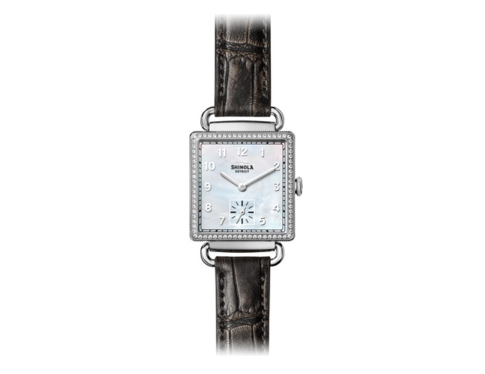 Shinola Cass 28mm stainless steel leather strap watch with a diamond bezel.