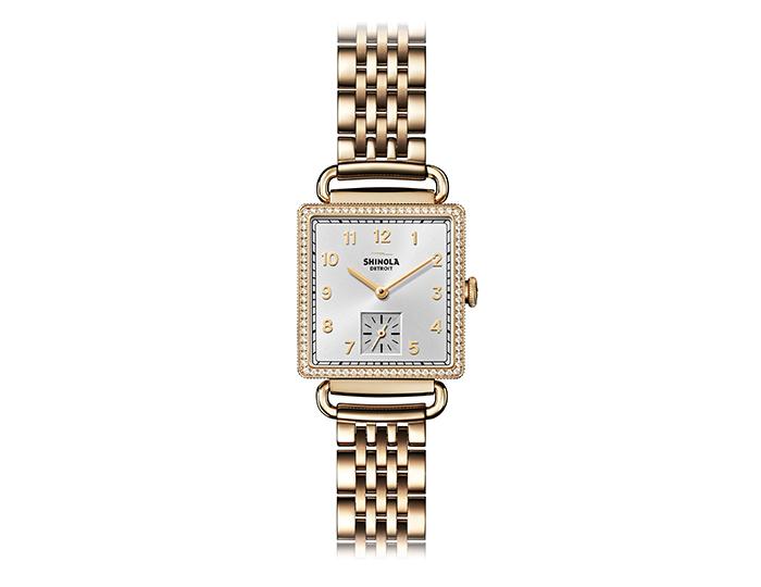Shinola Cass 28mm PVD gold finish bracelet watch with a diamond bezel.