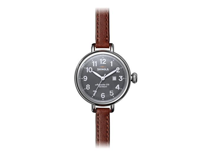 Shinola Birdy 34mm stainless steel leather strap watch.