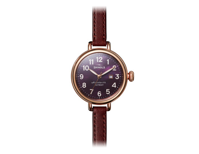 Shinola Birdy 34mm PVD rose gold finish leather strap watch.