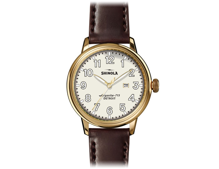 Shinola Runwell 41mm PVD gold finish leather strap watch.
