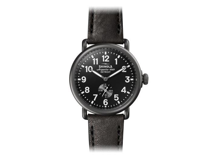Shinola Runwell 41mm PVD gunmetal finish leather strap watch.