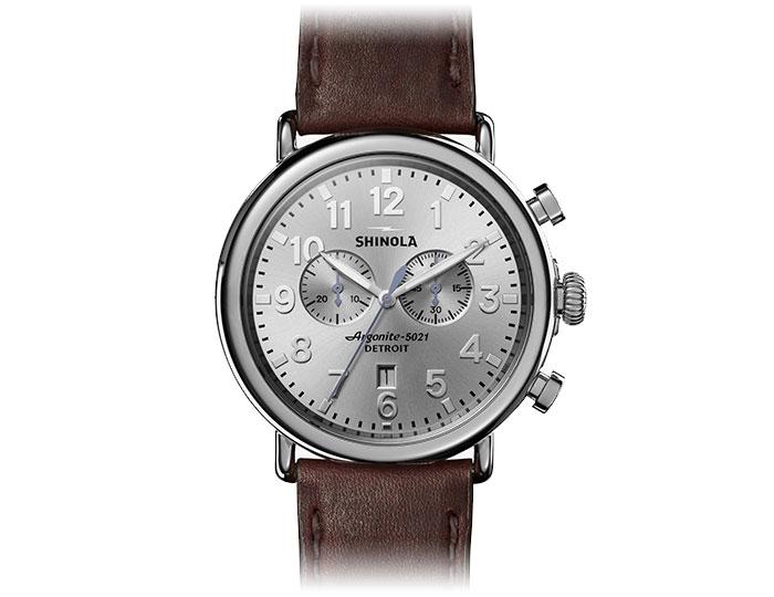 Shinola Runwell 47mm stainless steel leather strap watch.