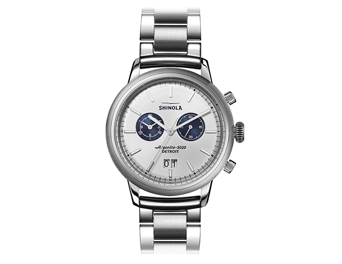 Shinola Bedrock Chronograph 42mm stainless steel bracelet watch.