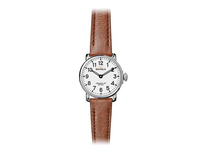 Shinola Runwell 28mm stainless steel leather strap watch.