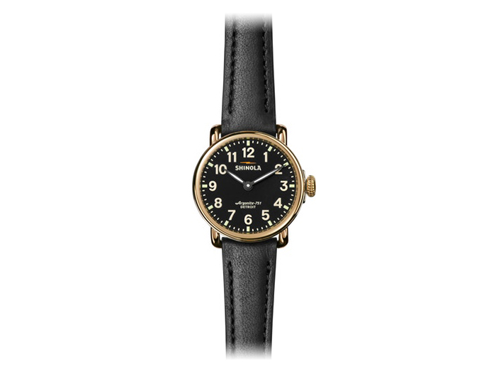 Shinola Runwell 28mm PVD gold finish leather strap watch.