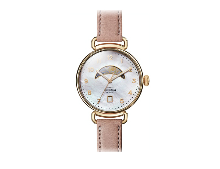 Shinola Canfield 43mm PVD gold finish leather strap watch.