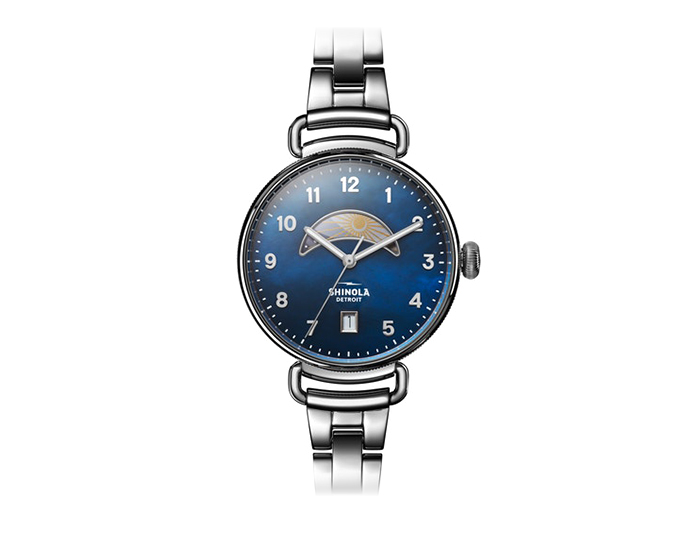 Shinola Canfield 38mm stainless steel bracelet watch.