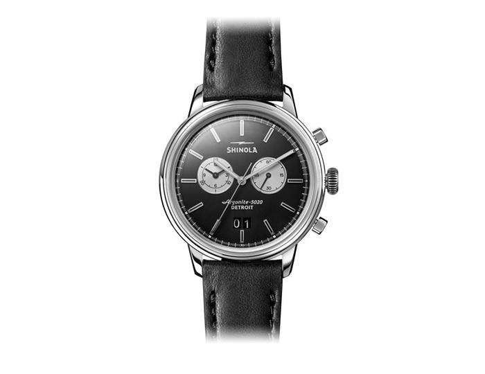Shinola Bedrock 42mm stainless steel leather stap watch.