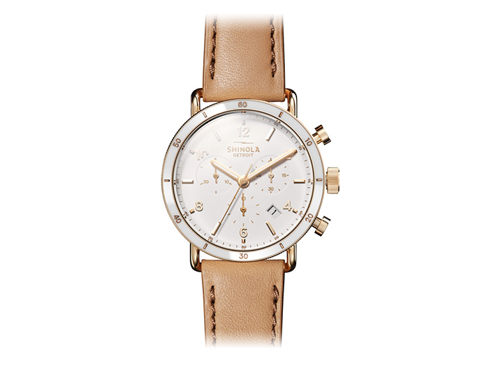 Shinola Canfield Sport 40mm PVD finish leather strap watch.