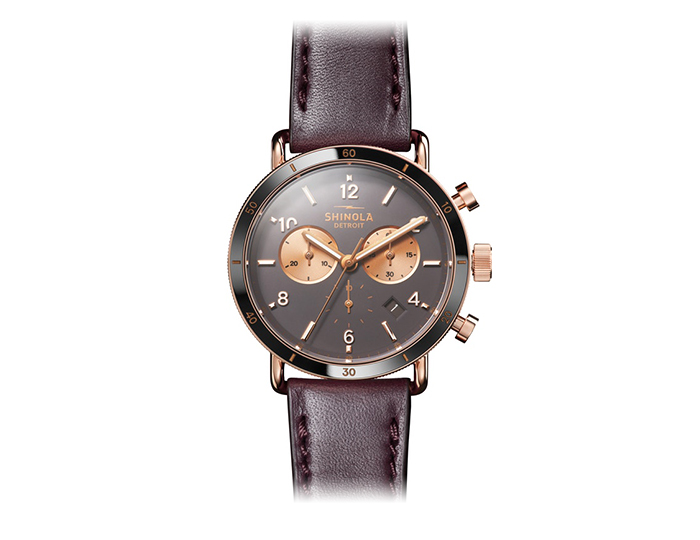 Shinola Canfield Sport 40mm PVD rose gold finish leather strap watch.