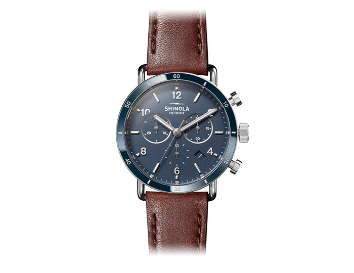 Shinola Canfield Sport 40mm stainless steel leather strap watch.