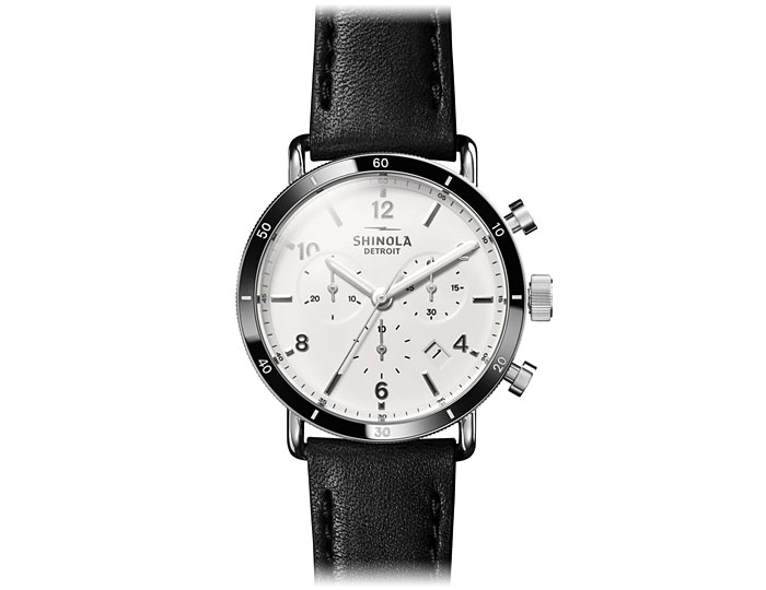 Shinola Canfield Sport Chronograph 40mm stainless steel leather strap watch.