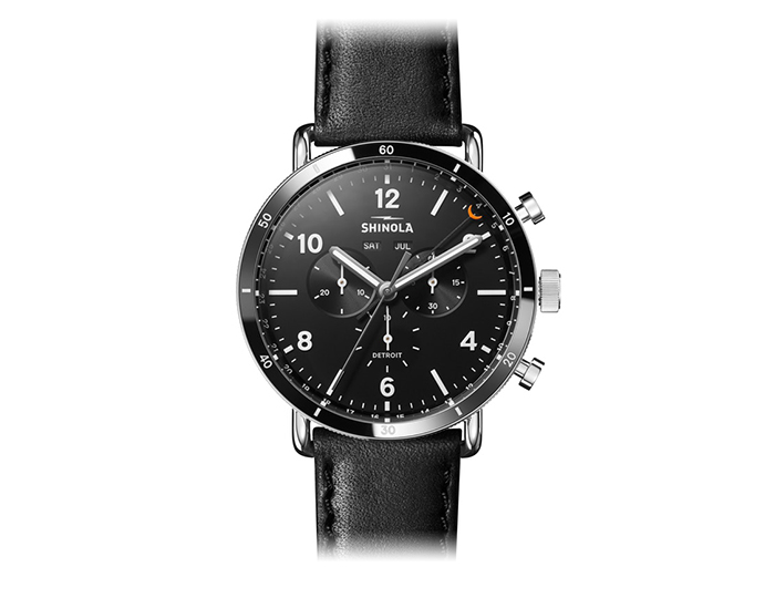 Shinola Canfield Sport 45mm stainless steel leather strap watch.