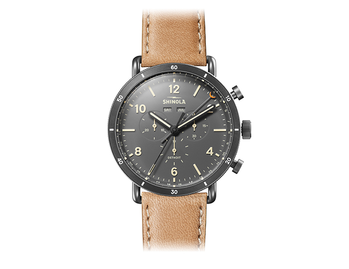 Shinola Canfield Sport 45mm PVD leather strap watch.