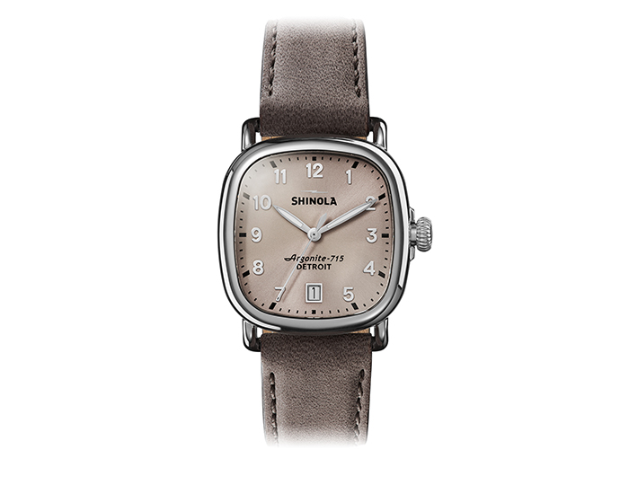 Shinola Guardian 36mm stainless steel suede strap watch.