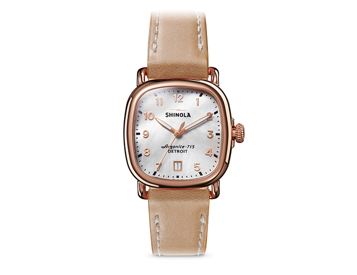 Shinola Guardian 36mm PVD rose gold finish leather strap watch.