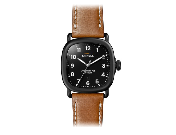 Shinola Guardian 41.5mm PVD leather strap watch.