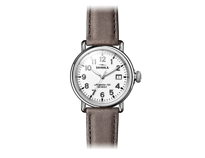 Shinola Runwell 36mm stainless steel leather strap watch.