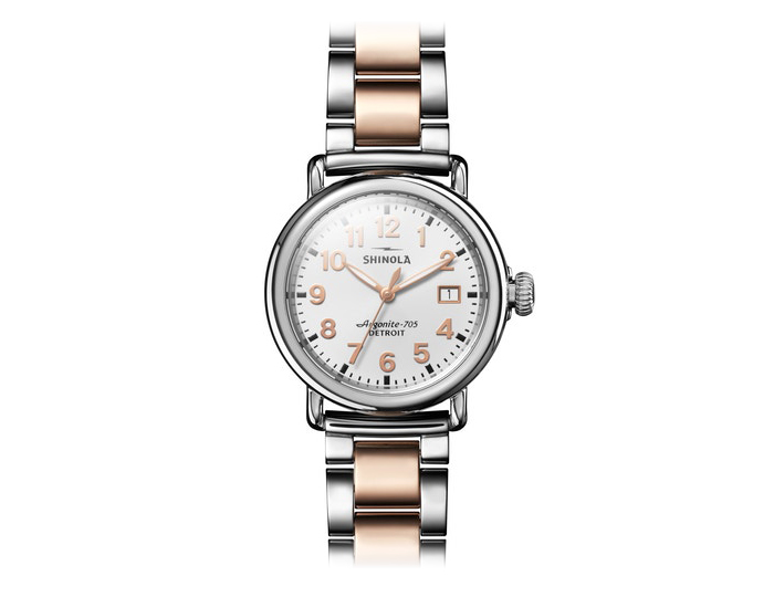 Shinola Runwell 36mm stainless steel and PVD rose gold finish bracelet watch.