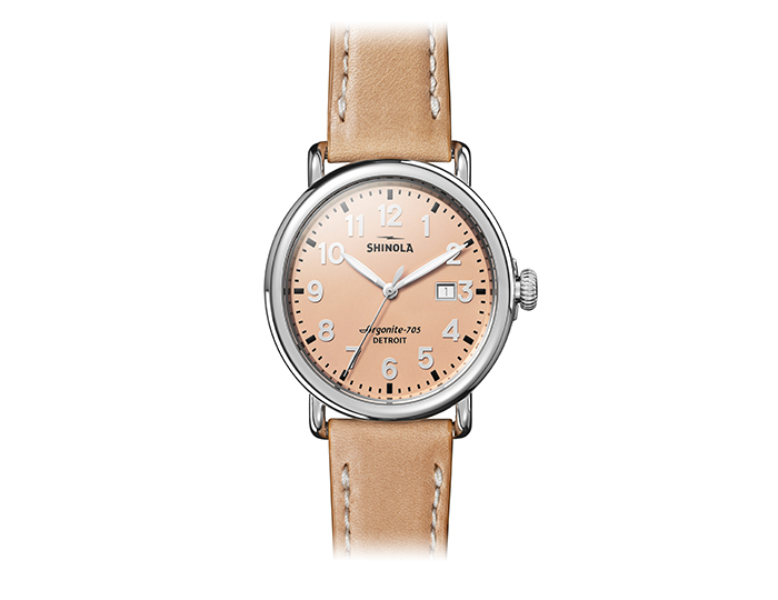 Shinola Runwell 41mm stainless steel leather strap watch.