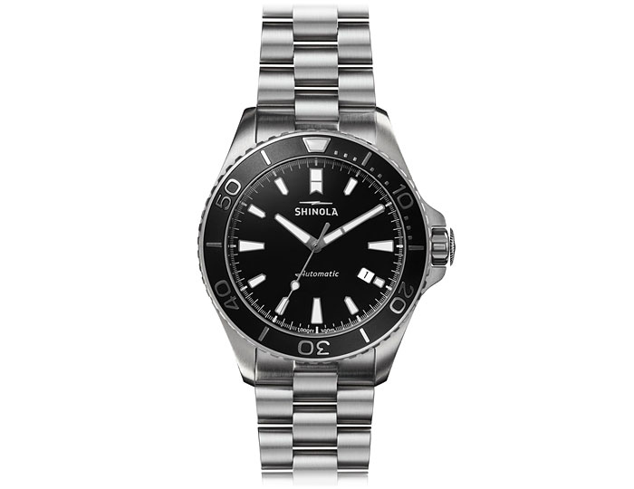 Shinola Monster automatic 43mm stainless steel bracelet watch.