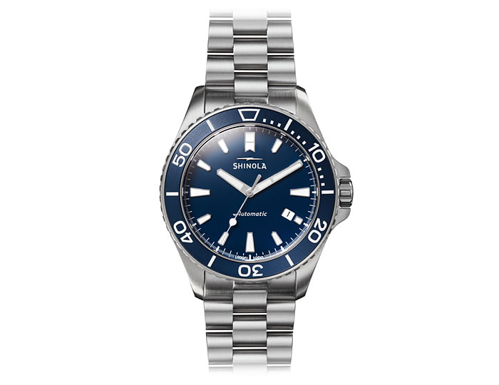 Shinola Lake Michigan Monster 43mm stainless steel bracelet watch.