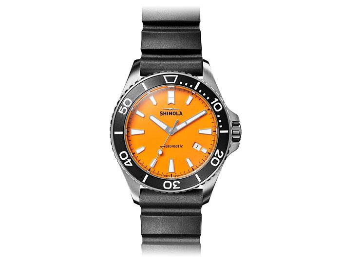 Shinola Lake Huron Monster 43mm rubber strap watch.