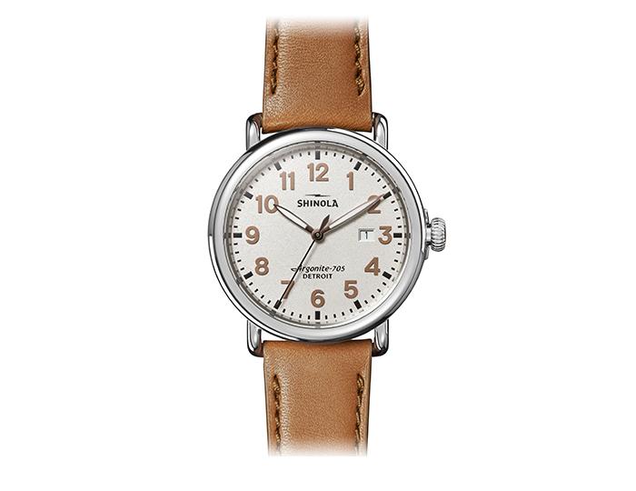 Shinola Runwell 41mm stainless steel leather strap watch.