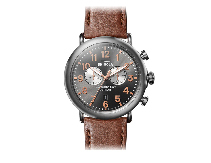 Shinola Runwell 47mm titanium leather strap watch.