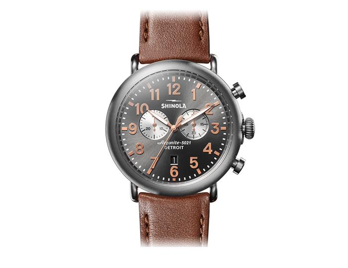 Shinola Runwell 47mm titanium leather strap watch.