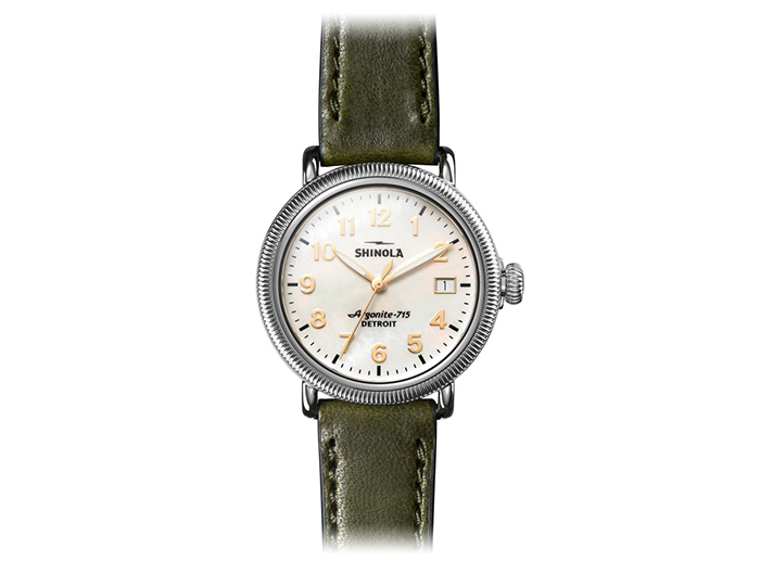 Shinola Runwell Coin edge 38mm stainless steel leather strap watch.