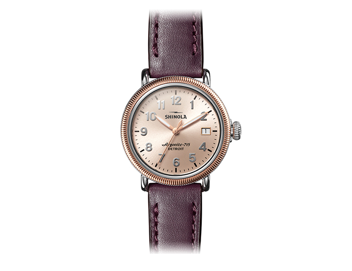 Shinola Runwell Coin edge 38mm stainless steel and plated leather strap watch.