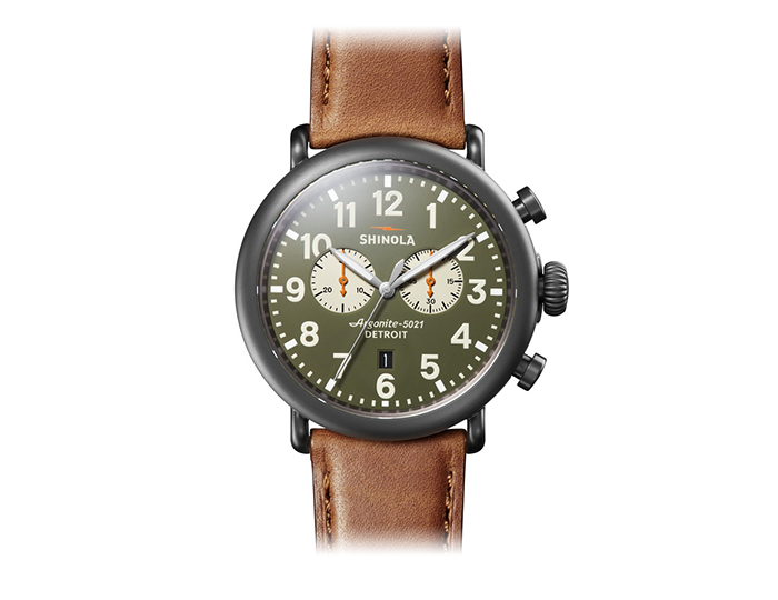 Shinola Runwell 47mm PVD finish leather strap watch.