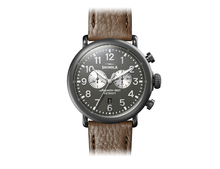 Shinola Runwell 47mm PVD finish leather strap watch.