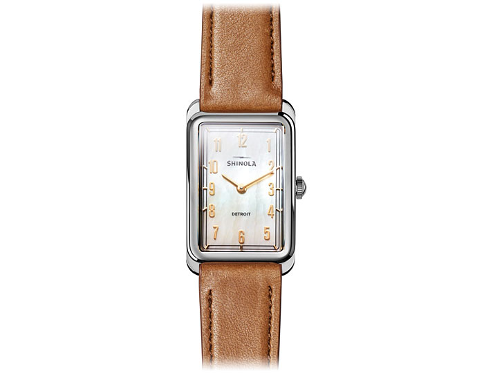 Shinola Muldowney 24mm stainless steel leather strap watch.