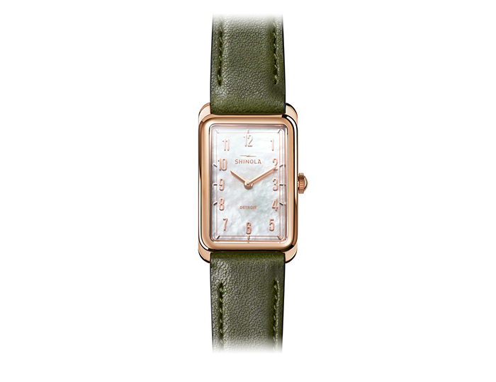Shinola Muldowney 24x32mm PVD rose gold finish leather strap watch.
