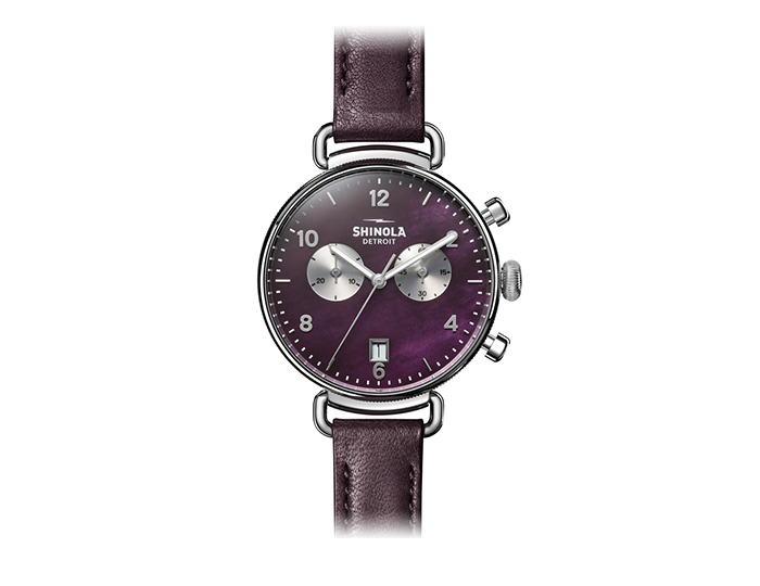 Shinola Canfield 38mm stainless steel leather strap watch.