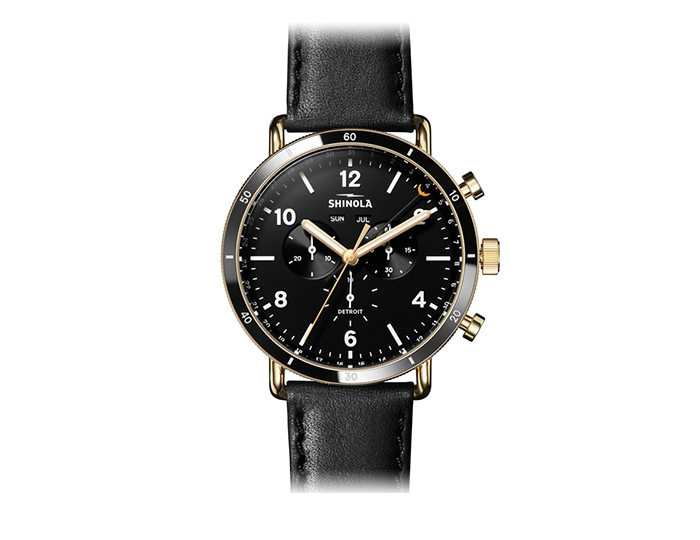 Shinola Canfield Sport 45mm PVD gold finish leather strap watch.