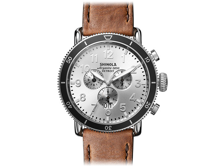 Shinola Runwell Sport Chronograph 48mm stainless steel leather strap watch.
