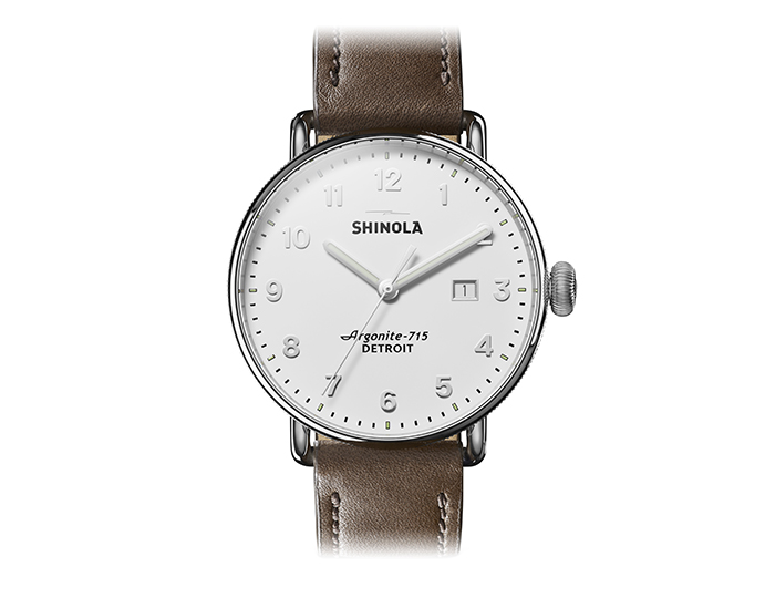 Shinola Canfield 43mm stainless steel leather strap watch.