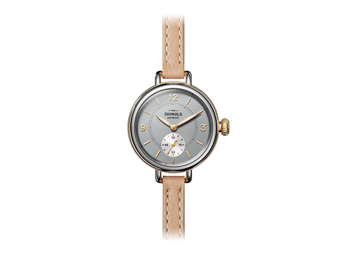Shinola Birdy 34mm stainless steel and PVD gold finish leather strap watch.