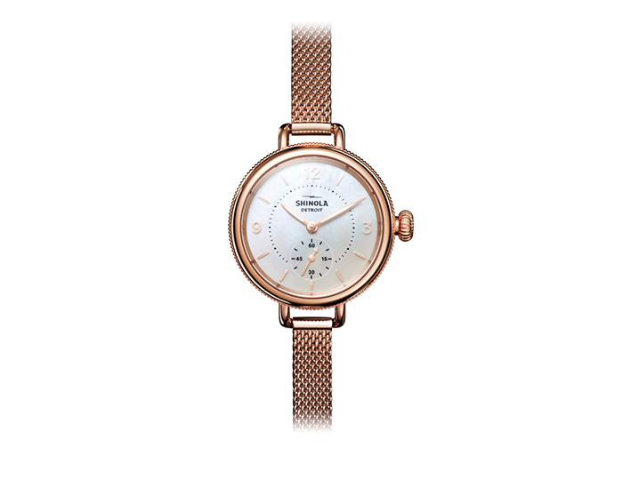 Shinola Birdy 34mm PVD rose gold finish bracelet.