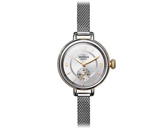 Shinola Birdy 34mm stainless steel and PVD gold finish bracelet watch.