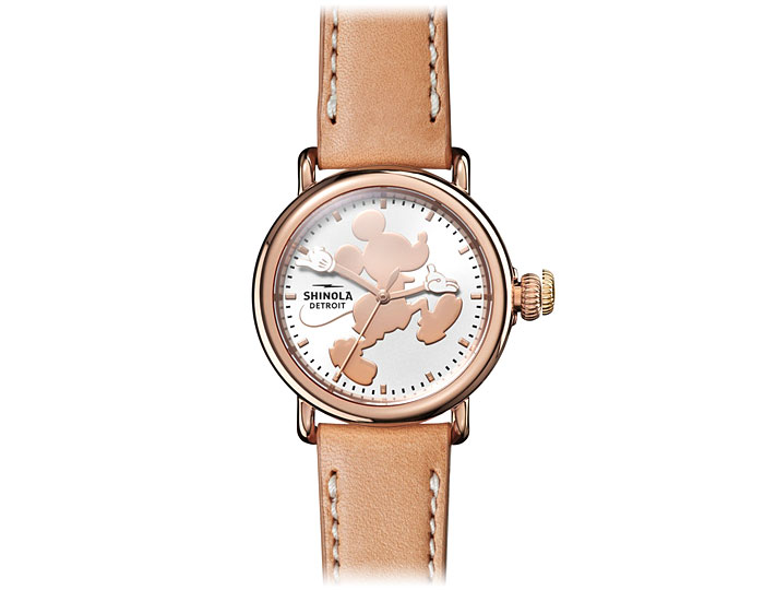 Shinola Mickey Mouse Bedrock 36mm PVD rose gold finish stainless steel leather strap watch.