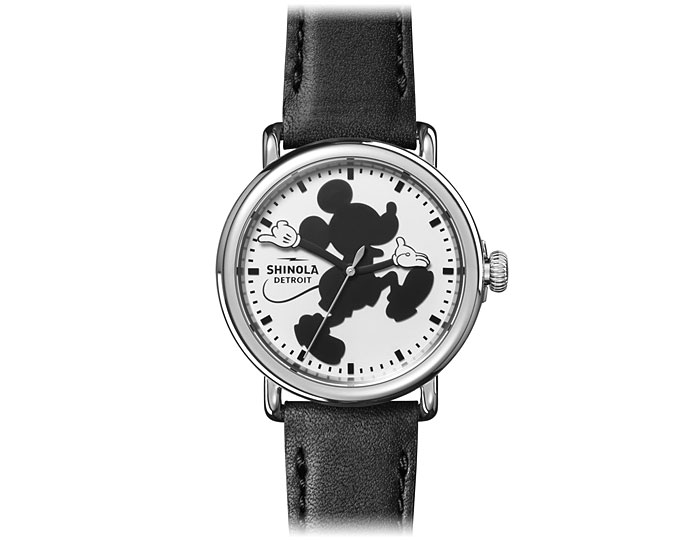 Shinola Mickey Mouse Runwell 41mm stainless steel leather strap watch.