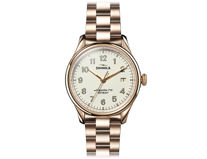 Shinola Vinton 38mm PVD gold finish bracelet watch.