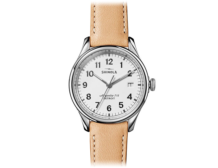 Shinola Vinton 38mm stainless steel leather strap watch.